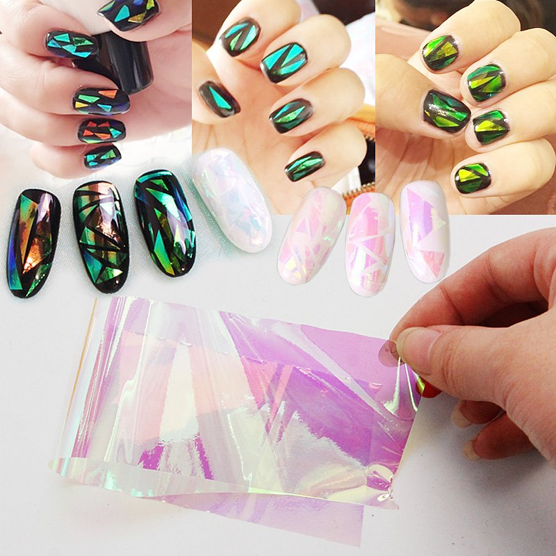 Lily Angel 2017 Irregular Broken Gl Mirror Foil Finger Nail Art Sticker Aurora Platinum Paper 3d Diy Aliexpress