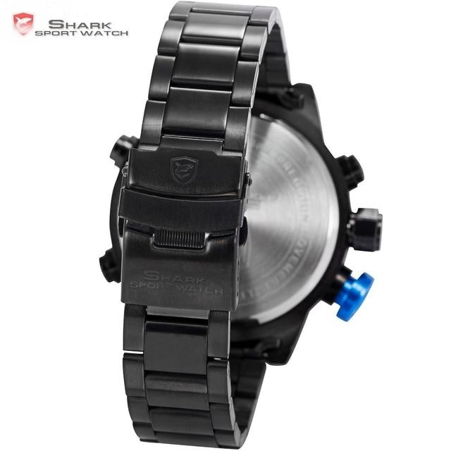 Gulper SHARK Sport Watch Luxury Brand LED Analog Date Quartz Blue Button Steel Strap Men Quartz Watches relogio masculino /SH106
