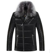 Бесплатная доставка 2016 новых зимней одежды кожаные пальто кожаный портфель пункт мужские кожаные куртки с толстым слоем лацканы м-3xl
