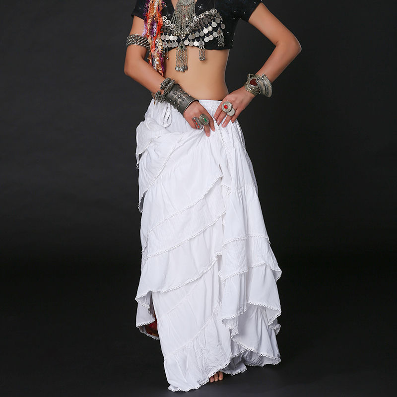 4180cfa945 Women Tribal Bellydance Skirt Double Layers Solid Cotton Spanish Flamenco  Dress Full Circle Belly Dance Gypsy Skirts ATS01039-in Belly Dancing from  Novelty ...