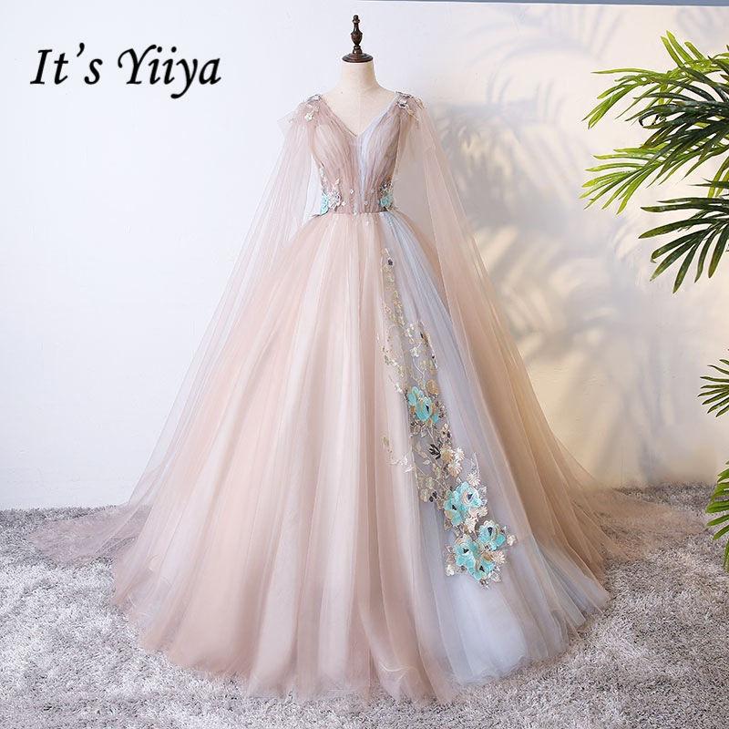 It's YiiYa Wedding Dresses Light Brown Appliques Beading V-Neck Shawl Design Brides Gowns Vestidos De Novia Casamento MN005