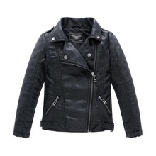 Teenager Girl Boys Leather Jacket Boys Casual Black Solid Children Outerwear Kids Girls Coats Spring Leather Jackets 2016 New