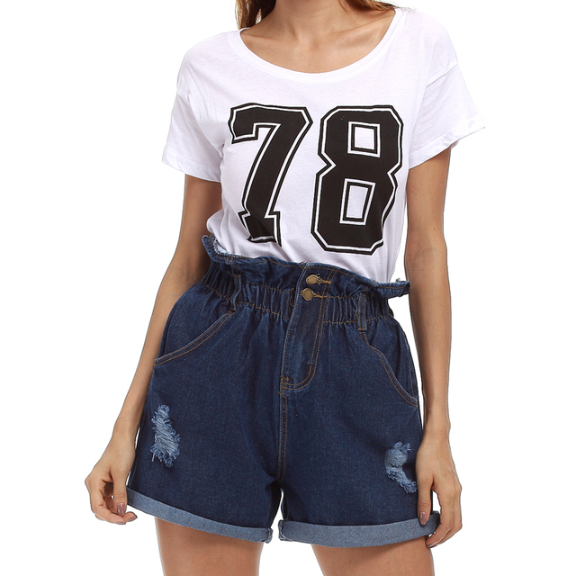 2017 Moda 2 Botões Retro Elastic Cintura Alta Shorts Feminino Shorts Jeans para As Mulheres Plus Size Solto Jeans Curto