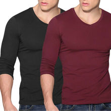 Men's Soft V-Neck Long Sleeve T-Shirt Slim Fit Casual Solid Color  Basic Tee Fit Long Sleeve Pullovers Tee Top цены
