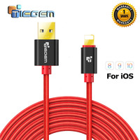 TIEGEM Nylon Braided USB Cable for iphone 5 5S 7 Plus 1m/2m/3m Fast Charging Sync Data USB Cable For iphone 6 6s Plus 5s ipad