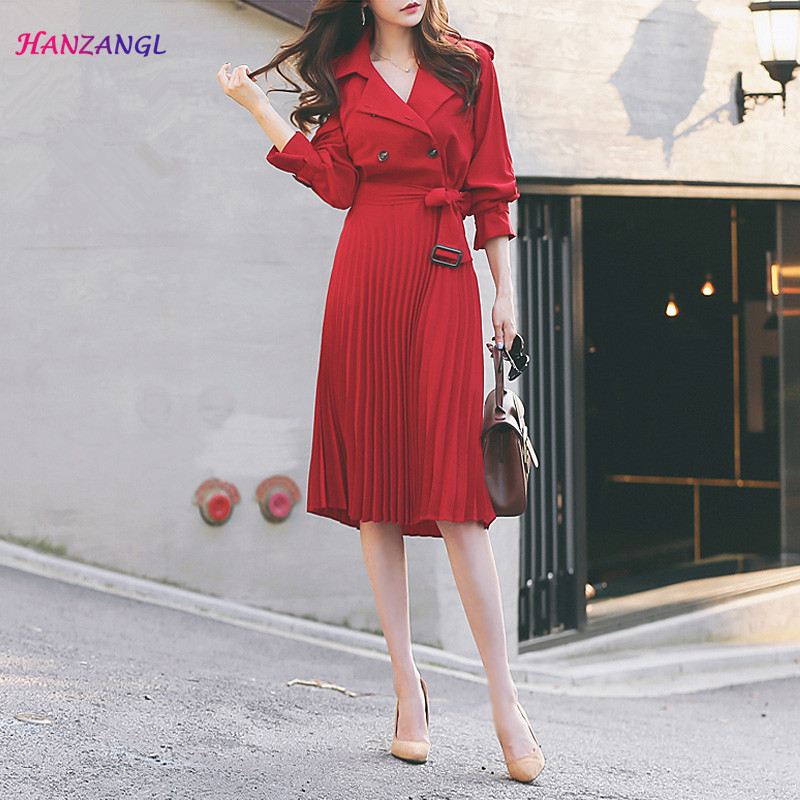 HANZANGL Spring and Autumn Women s Long Sleeve Windbreaker Dress Double breasted Belted Pleated Long Dress