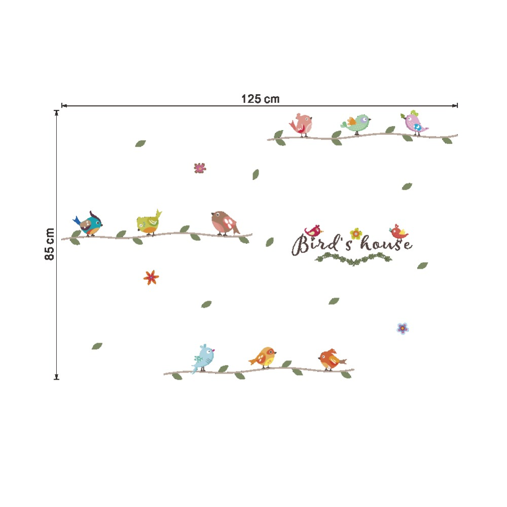 Bird Branch birdcage wall stickers for kids rooms living room bedroom window wall decals mural arts poster in Wall Stickers from Home Garden