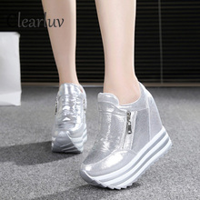 2019 Spring Autumn 10cm thick wedge bottom increased casual shoes for women's shoes in the fashion high platform shoes C0807