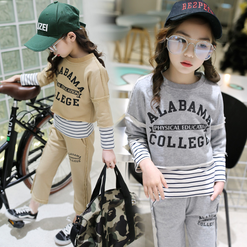 Childrens clothing 2018 Spring New Girls Sports Leisure Sets Childrens sweater Three-piece suits Kids Sets