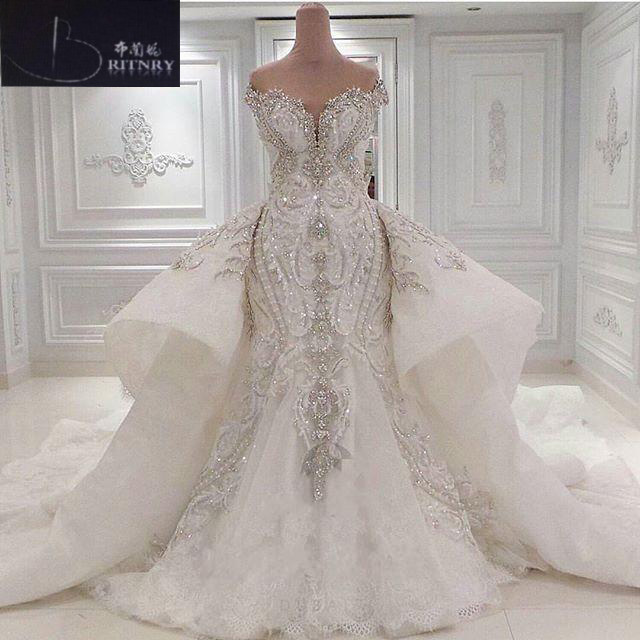 Luxury Wedding Dress 2018 Off The Shoulder Ivory Embroidery Beaded Mermaid Wedding Dress with Detachable Train