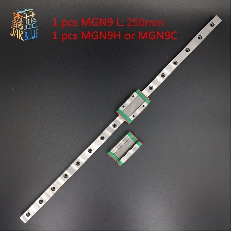 Free shipping 9mm Linear Guide MGN9 L= 250mm linear rail way + MGN9C or MGN9H Long linear carriage for CNC X Y Z Axis pult ru 36 marantz canton