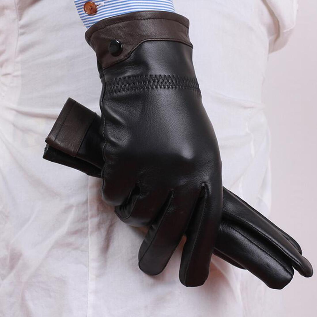 Mens leather gloves sale - Hot Sale Fashion Men Sheepskin Genuine Leather Gloves All Match Thermal Sheepskin Full Finger Gloves