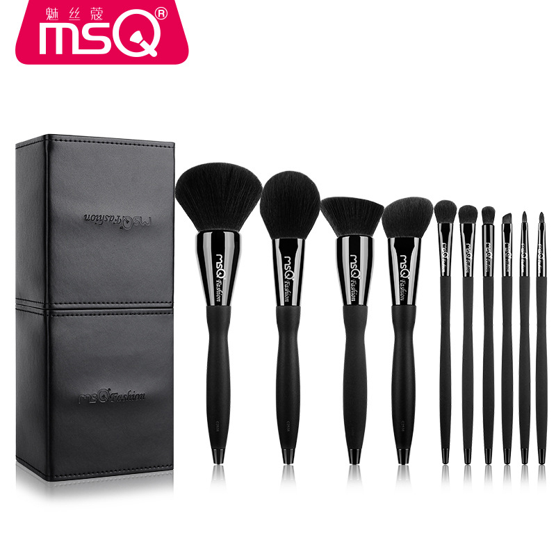 MSQ Professional Makeup Brushes Set High Quality 10 Pcs Makeup Tools Kit Premium Full Function Blending Powder Foundation Brush