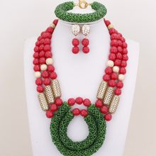 Dudo Store Coral Beads Jewelry Wedding Set Red and Green Earrings Necklace Bracelet Set Free shipping 3 Layers Jewellery Set(China)