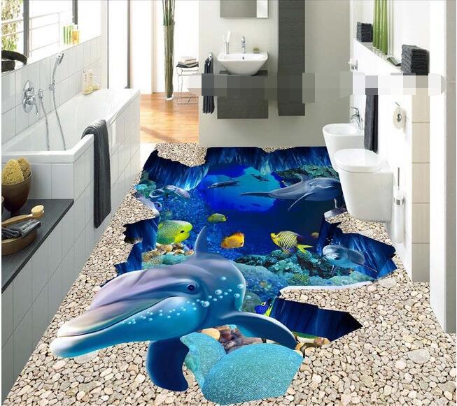 3d plancher personnalisé imperméable à l'eau 3d plancher pvc 3 d océan monde dauphin plancher 3D salle de bains plancher papier peint pour murs 3d