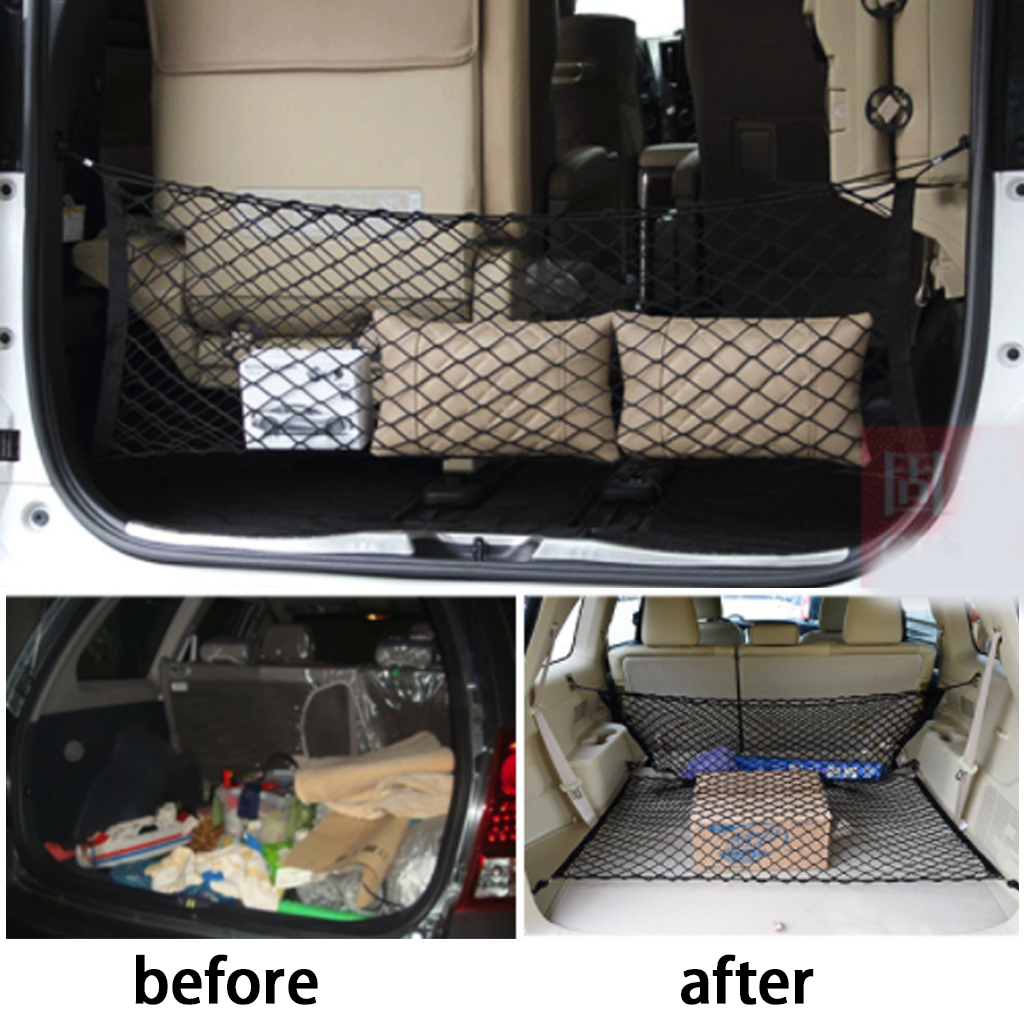 <font><b>120</b></font> X 70 Cm Elastic <font><b>Strong</b></font> Nylon Car Trunk Nets Cargo Luggage Storage Car Organizer Net Mesh With Hooks Car Accessories image