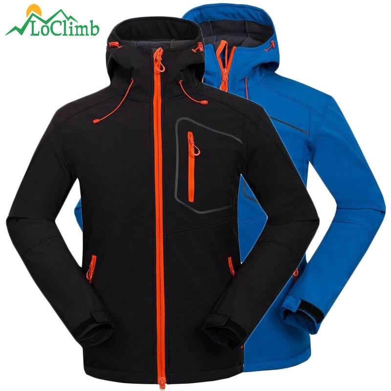 LoClimb Waterproof Fleece Heated Softshell Hiking Jackets Men Outdoor Sport Mountain Climbing Hunting Coat Rain Ski