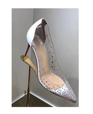 De or noir Nouveau Chaussures Luxe Pointu Hauts 2019 Couvert Bout Femme Plexi Pvc Cristal Aiguilles Beige Talons Soirée Célébrités Styles Clair Robe xF11nZwqR