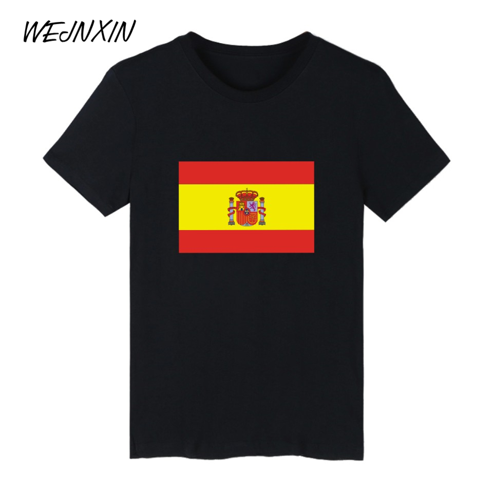 WEJNXIN Fashion Spain Yellow Red Flag Print Short Sleeve T-shirts Cotton Hip Hop T Shirt Men Women TShirt Summer Flag Tee Shirt