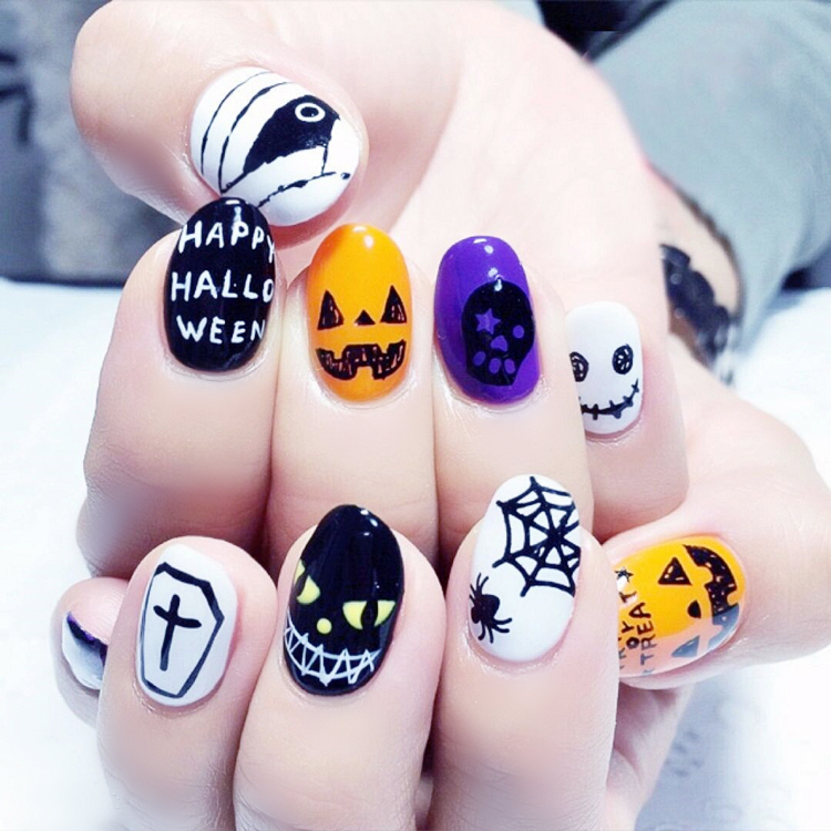 Halloween pumpkin pattern fake nails Japanese hit pure color false ...