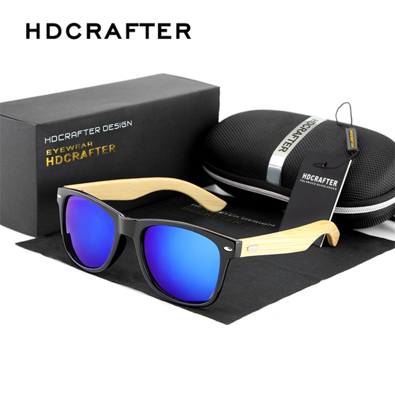 HDCRAFTER Fashion Bamboo Sunglasses Mens Wooden Sunglasses Mirror Original Brand Wood Sun Glasses Oculos de sol