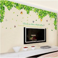 Green Leaves TV Setting Wall Room Sitting Room Sofa Decor Wall Stickers Wind Stick Leaf Depths