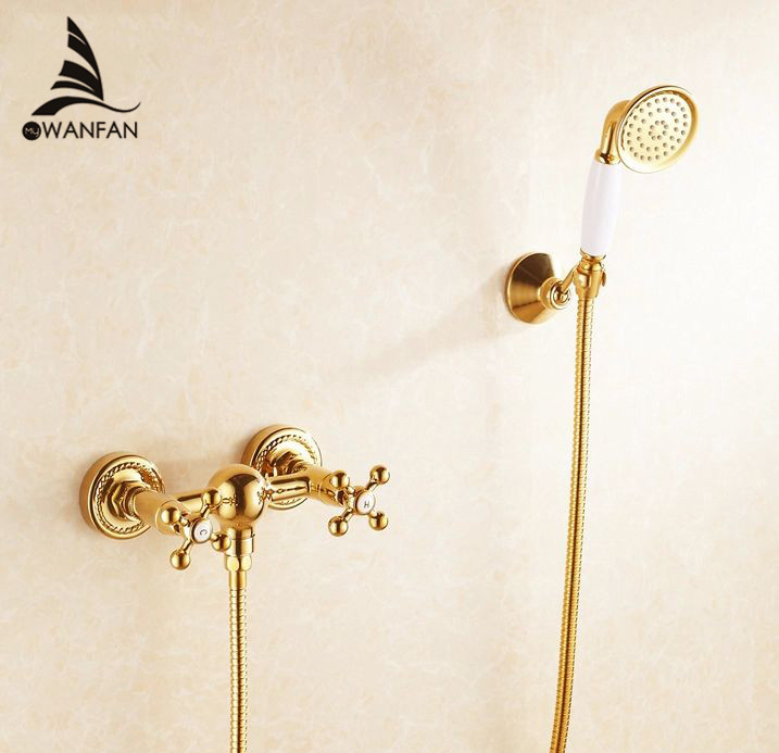 Shower Faucets Brass Luxury Gold Bathtub Faucets Rain Shower HandHeld Bathroom Sanitary Wall Mount Shower Mixer Tap Sets HJ-6758 free shipping polished chrome finish new wall mounted waterfall bathroom bathtub handheld shower tap mixer faucet yt 5333