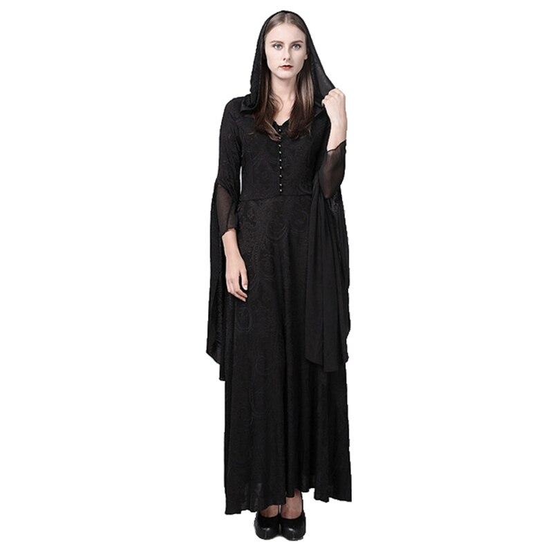 Punk tricot longue robe à capuche resses Slim gothique pardessus Halloween Costume robe