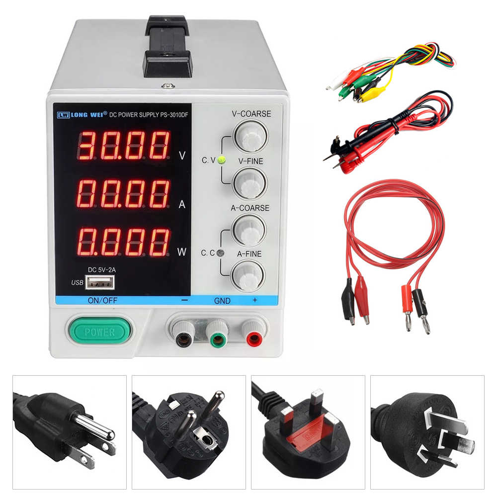 PS-3010DF High Precision 4 Digit Display Laboratory Power Supply 30V 10A Adjustable USB Output Voltage Regulator DC Power Supply