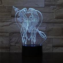 Parrot Table Led Night Light USB Touch Sensor RBG Novelty Lighting Child Kids Baby Gift Gadget 3D Lamp Dropshipping