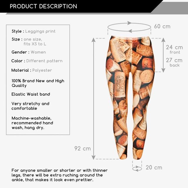 Fullprint Skinny Pants 3D Brown Wine Cork Printed Women Girl Funny Basic Leggings