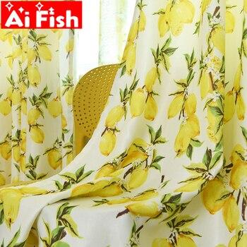 Cortina de cocina con estampado de limón amarillo de estilo Pastoral, cortina de tul con pantalla para sala de estar, cortinas de ventanas de dibujos animados para niños, WP166-40