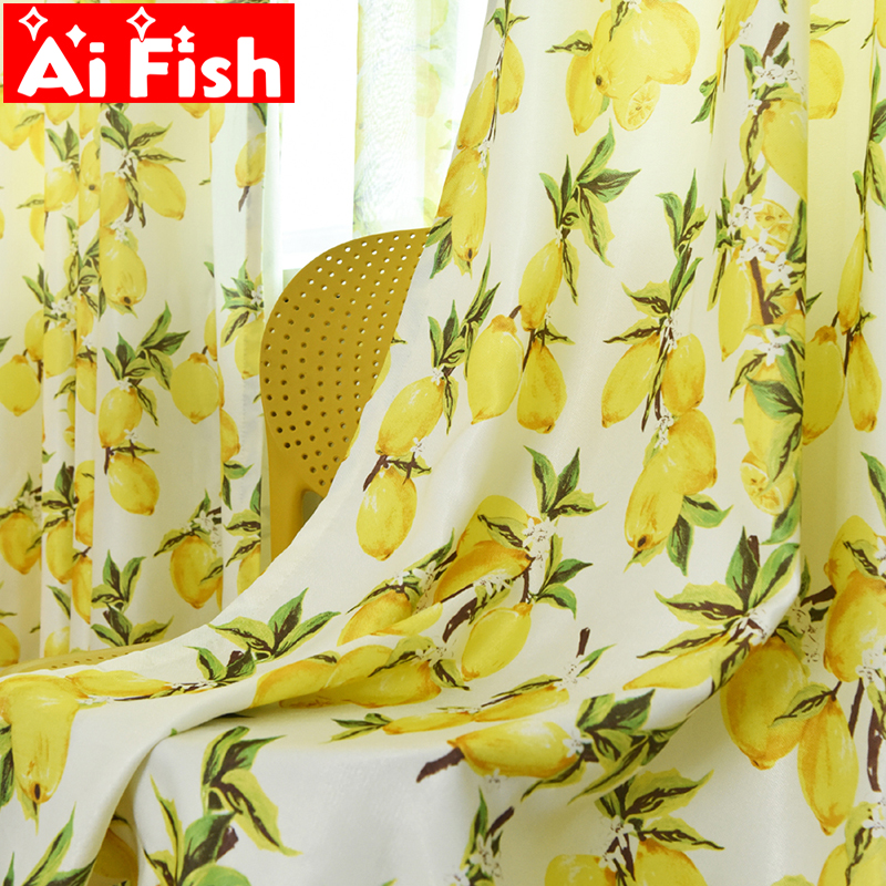 Pastoral Style Yellow Lemon Print Kitchen Curtain Screen Tulle Curtain For Living Room Cartoon Windows Drapes For Kids WP166-40