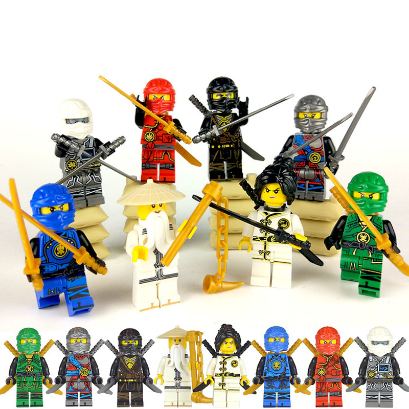 8pcs/lot Ninja Model Building Block Classic Action Figures Toys For Children Gifts Compatible NinjagoINGly LegoINGly Bricks Toys 2018 hot ninjago building blocks toys compatible legoingly ninja master wu nya mini bricks figures for kids gifts free shipping