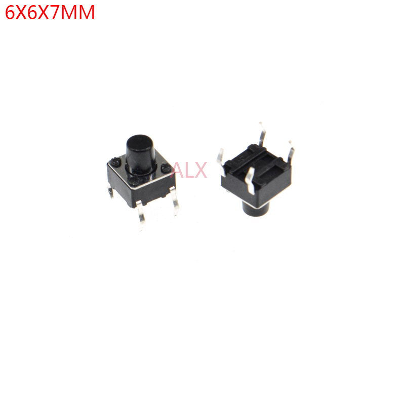 100PCS 6X6x7mm 4PIN Dip TACT Push Button Switch Micro Key Power Tactile Switches 6x6x7 6*6*7MM Light Touch