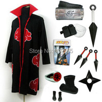 Free Shipping! Naruto Akatsuki Uchiha Itachi Cosplay Cloak, headband, Black And White Bear , Package , ring, necklace, Shoes