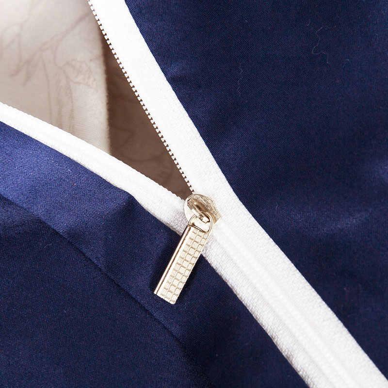 Роскошное темно-синее Европейское постельное белье наборы Королева Король Размер вышивка Египетский хлопок постельное белье пододеяльник простыня наволочки