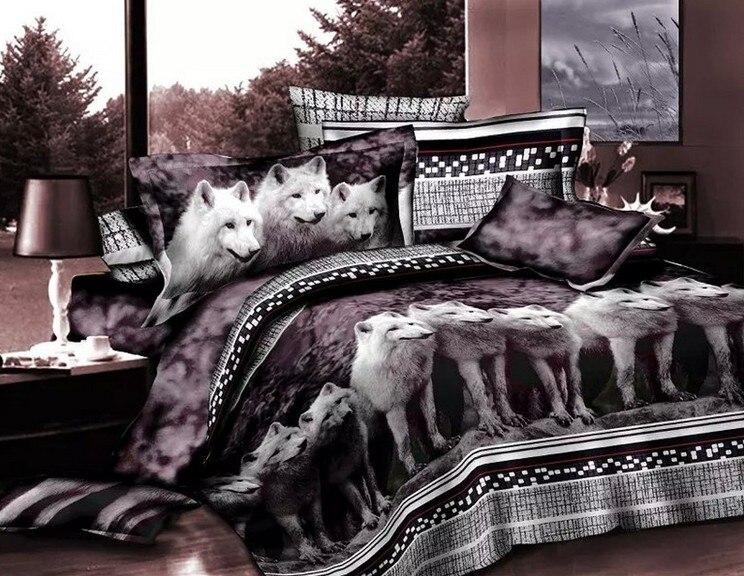 Loup literie complète lit feuilles 3D imprimé Animal couvre lits doona couette linge housse de couette queen size double drap chambre dans Ensembles de literie de Maison & Jardin