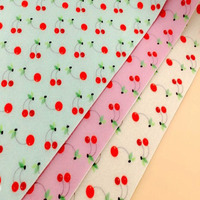 YUYING DIY Cute Cherry PRINTED Felt 3 Patterns Extremely Soft Felt Fabric 23x32cm Patchwork Polyester NON