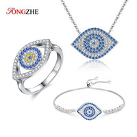 TONGZHE Evil Eye Necklace Dragon Shrimp Shape 925 Sterling Silver Bracelets for Women 2018 Fashion Blue Zircon Ring Jewelry Sets