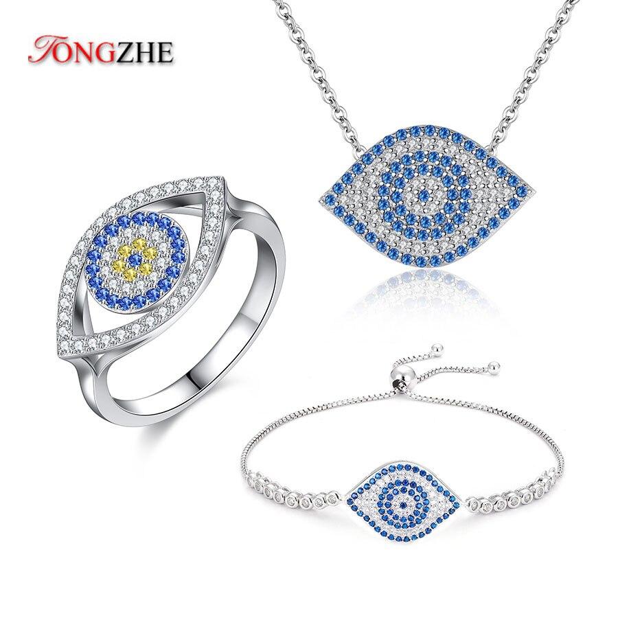 TONGZHE mauvais œil collier Dragon crevette forme 925 en argent Sterling bracelets pour femme 2018 mode bleu Zircon anneau ensembles de bijoux