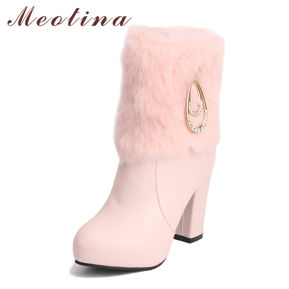Meotina Winter Boots Shoes Fur Platform High Heel Boots Sexy Crystal Mid Calf Boots Zipper Thick Heels Warm Shoes Autumn White white model stage performance women s boots autumn winter low tube boots crystal shoes 15cm high heel dance shoes