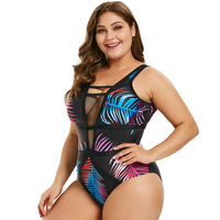Wipalo Women Plus Size Openwork Leaf Print Swimwear Sexy Plunging Neck Mesh Panel Tropical Print One Piece Set Casual Beach Wear