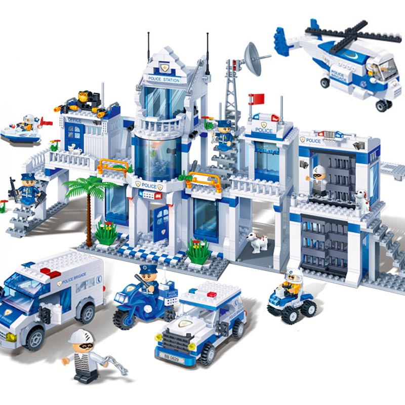 Extra Large Police Station 1285 Pcs Blocks Compatible with Logo City Educational Toys for Kids Toys Hobbies Building Block Sets