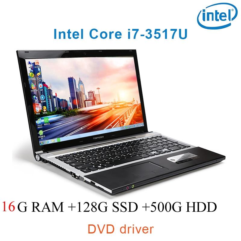 """נהג ושפת os זמינה 16G RAM 128g SSD 500G HDD השחור P8-19 i7 3517u 15.6"""" מחשב נייד משחקי מקלדת DVD נהג ושפת OS זמינה עבור לבחור (1)"""