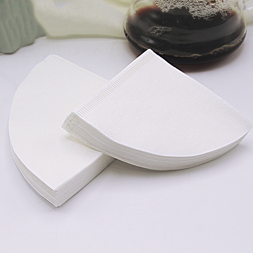 50Pcs/Bag Wooden Original Hand Drip Paper Coffee Filter White Espresso Coffee Filters Tea Infuser Accessories Kitchen Tools