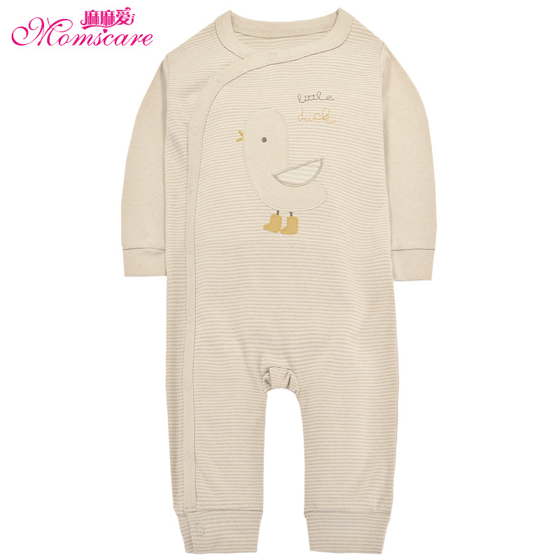 Mom's care 100% Organic Cotton Baby Rompers Newborn Infant Toddler Boys Girls Jumpsuit Pajamas Sleepwear Kids Clothes for Autumn baby rompers cartoon cotton boys girls romper long sleeve coveralls for newborn cotton infant jumpsuit o neck newborn sleepwear