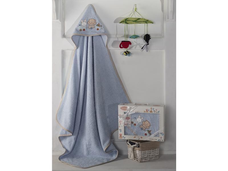 Towel-envelope KARNA, BAMBINO-TRAIN, 90*90 cm, Blue цена и фото