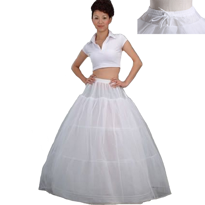 3 Three Hoops Skirt Slip Bridal Wedding Dress Petticoat Bone Full Crinoline Lace Trim Prom Underskirt Ball Gown Elastic Waist