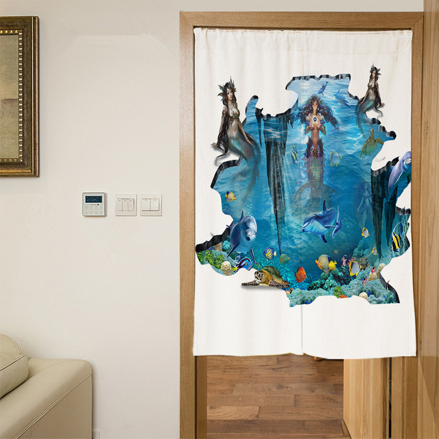 3D Dolphins Door Curtains 3